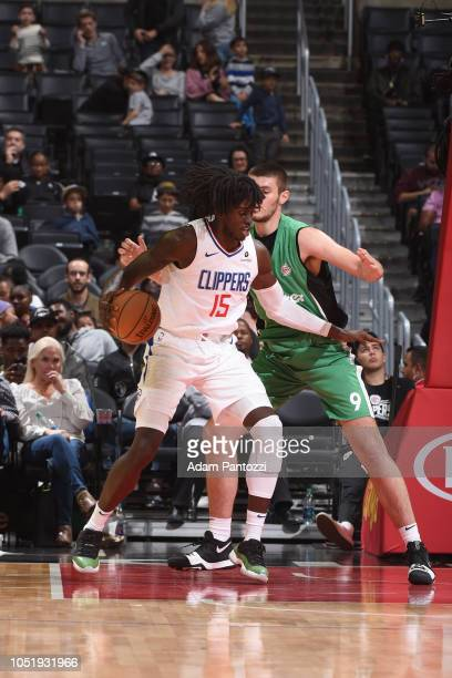 Johnathan Motley of the LA Clippers handles the ball against the Maccabi Haifa during a preseason game on October 11 2018 at Staples Center in Los...