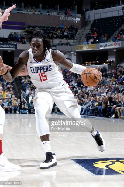 Johnathan Motley of the LA Clippers handles the ball during the game against the Indiana Pacers on February 7 2019 at Bankers Life Fieldhouse in...