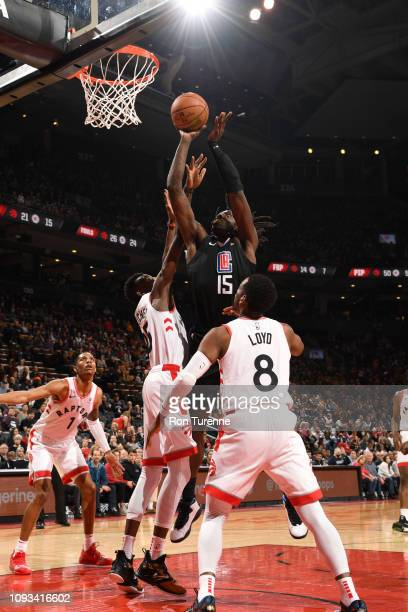 Johnathan Motley of the LA Clippers puts up contested shot against the Toronto Raptors on February 3 2019 at the Scotiabank Arena in Toronto Ontario...