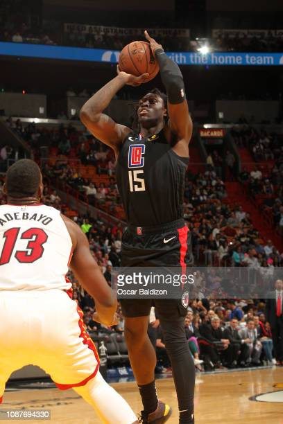 Johnathan Motley of the LA Clippers shoots the ball against the Miami Heat on January 23 2019 at American Airlines Arena in Miami Florida NOTE TO...