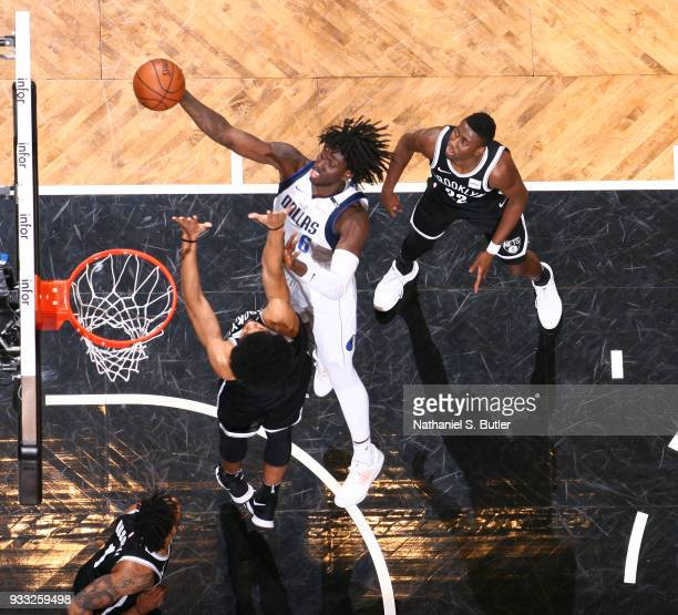 Johnathan Motley of the Dallas Mavericks dunks against the Brooklyn Nets on March 17 2018 at Barclays Center in Brooklyn New York NOTE TO USER User...