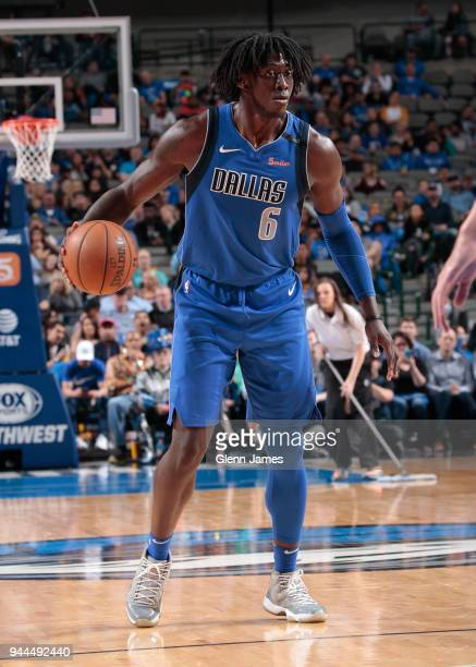 Johnathan Motley of the Dallas Mavericks handles the ball during the game against the Phoenix Suns on April 10 2018 at the American Airlines Center...