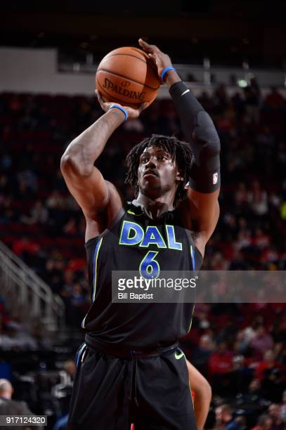 Johnathan Motley of the Dallas Mavericks shoots the ball during the game against the Houston Rockets on February 11 2018 at the Toyota Center in...