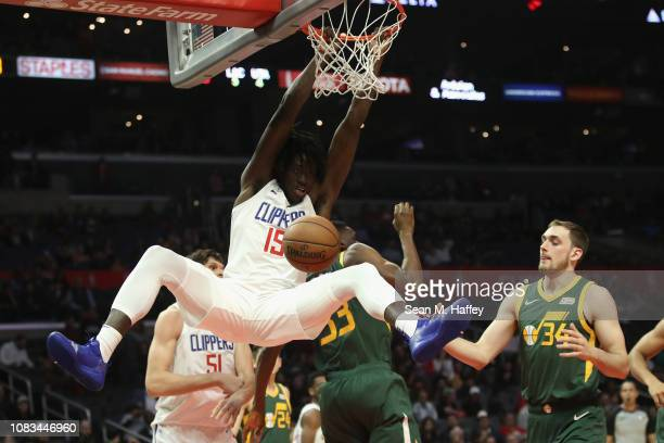 Johnathan Motley of the Los Angeles Clippers dunks the ball during the second half of a game against the Utah Jazz at Staples Center on January 16...