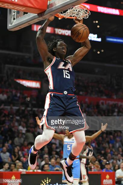 Johnathan Motley of the Los Angeles Clippers gets a dunk against the Sacramento Kings in the first half at Staples Center on January 27 2019 in Los...