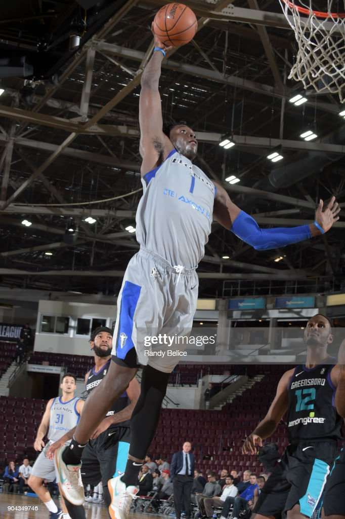 Johnathan Motley #1 of the Texas Legends dunks the ball against the Greensboro Swarm at NBA G League Showcase Game 17 on January 12, 2018 at the Hershey Centre in Mississauga, Ontario Canada.