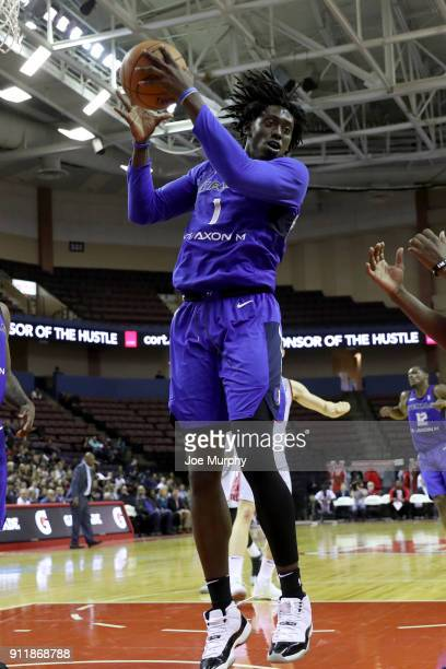 Johnathan Motley of the Texas Legends grabs the rebound against the Memphis Hustle during an NBA GLeague game on January 29 2018 at Landers Center in...