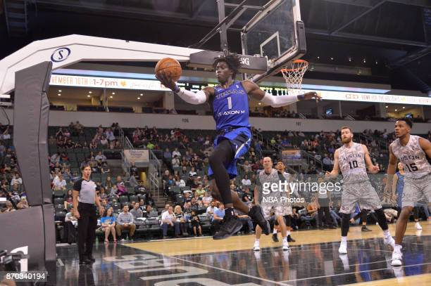 Johnathan Motley of the Texas Legends handles the ball against the Austin Spurs during an NBA GLeague game on November 4 2017 at the HEB Center in...