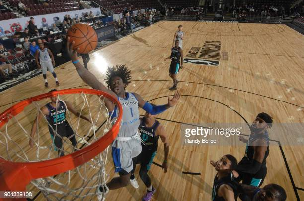 Johnathan Motley of the Texas Legends handles the ball against the Greensboro Swarm at NBA G League Showcase Game 17 on January 12 2018 at the...