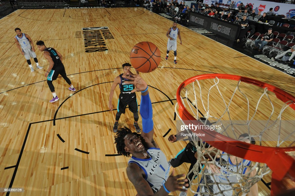 Johnathan Motley #1 of the Texas Legends shoots the ball against the Greensboro Swarm at NBA G League Showcase Game 17 on January 12, 2018 at the Hershey Centre in Mississauga, Ontario Canada.