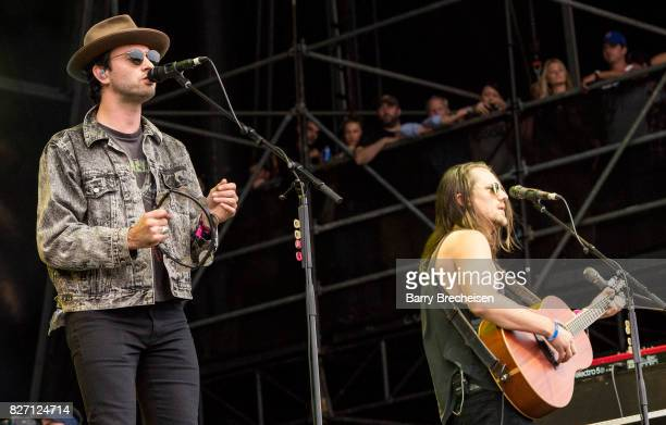 <Johnathan Russell and Josiah Johnson of The Head and the Heart perform at Grant Park on August 5 2017 in Chicago Illinois