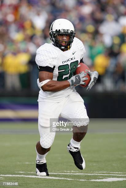Johnathan Stewart of the Oregon Ducks carries the ball during the game against the Washington Huskies at Husky Stadium on October 20 2007 in Seattle...