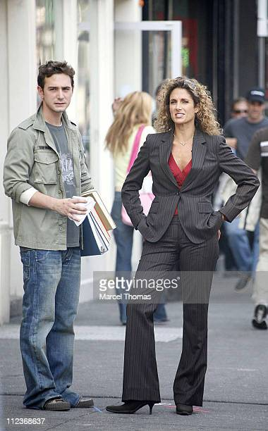 Johnathan Tchaikovsky and Melina Kanakaredes during Melina Kanakaredes on Set for CSI New York July 10 2006 in New York City New York United States