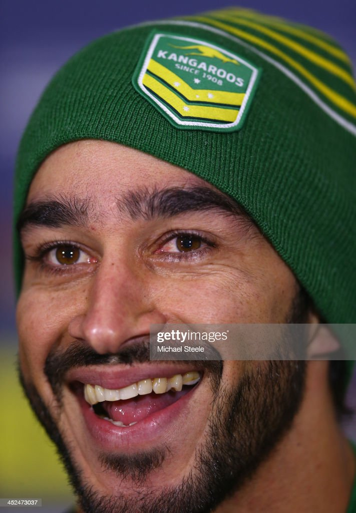 Johnathan Thurston addresses the media during a press conference at Old Trafford on November 29, 2013 in Manchester, England.