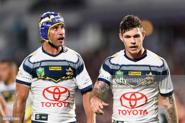 Johnathan Thurston and Ben Hampton of the Cowboys look on during the round five NRL match between the New Zealand Warriors and the North Queensland...