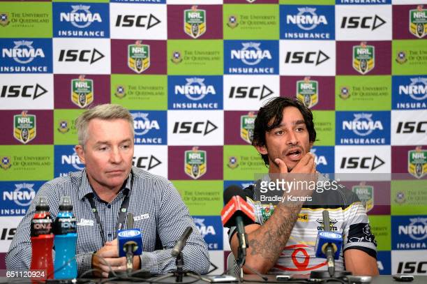 Johnathan Thurston and Coach Paul Green of the Cowboys speak at a press conference after the round two NRL match between the Brisbane Broncos and the...