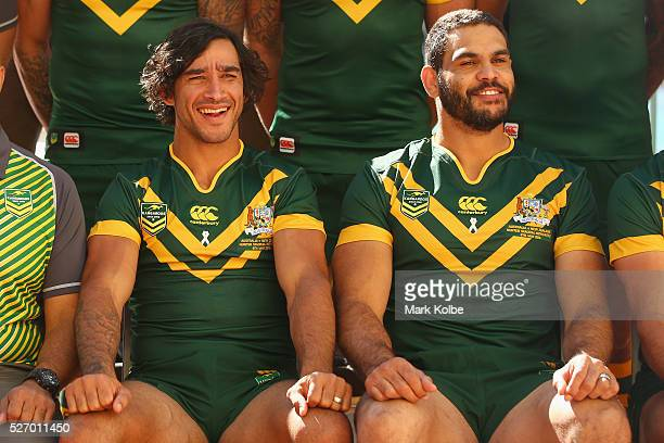 Johnathan Thurston and Greg Inglis pose during the Australia Kangaroos Test team photo session at Crowne Plaza Coogee on May 2 2016 in Sydney...
