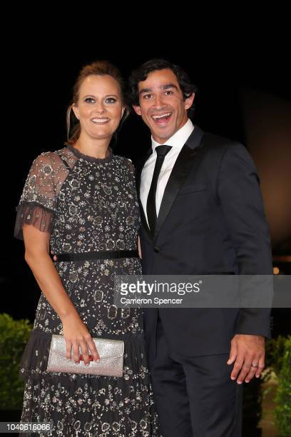 Johnathan Thurston and his wife Samantha Lynch arrive at the 2018 Dally M Awards at Overseas Passenger Terminal on September 26 2018 in Sydney...