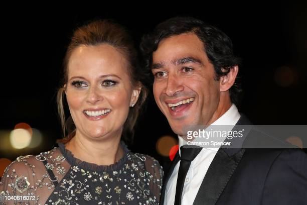 Johnathan Thurston and his wife Samantha Lynch arrive at the 2018 Dally M Awards at Overseas Passenger Terminal on September 26, 2018 in Sydney,...