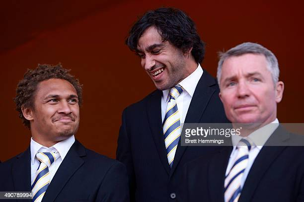 Johnathan Thurston and Ray Thompson of the Cowboys speak during the launch of NRL Nation at Darling Harbour on October 1 2015 in Sydney Australia