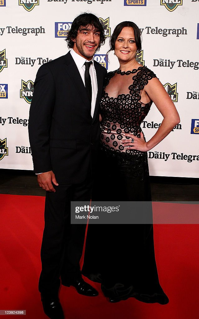 Johnathan Thurston and Samantha Lynch pose on the red carpet before the 2011 Dally M Awards at the Royal Hall of Industries, Moore Park on September 6, 2011 in Sydney, Australia.