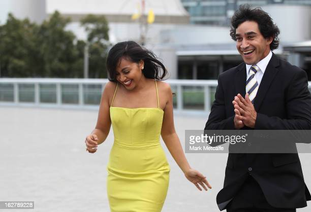 Johnathan Thurston and singer Jessica Mauboy arrive for the 2013 NRL season launch at The Star on February 27 2013 in Sydney Australia