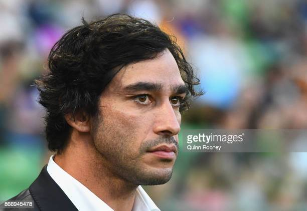 Johnathan Thurston looks on during the 2017 Rugby League World Cup match between the Australian Kangaroos and England at AAMI Park on October 27 2017...