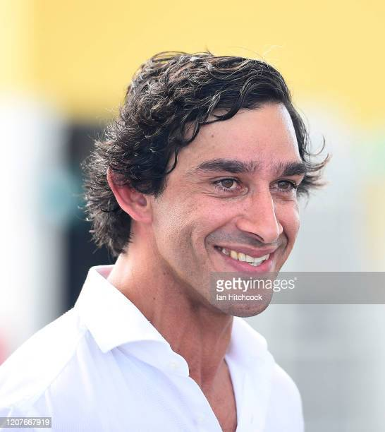 Johnathan Thurston looks on during the unveiling of the Jonathan Thurston bronze statue at the Queensland Country Bank Stadium on February 21, 2020...