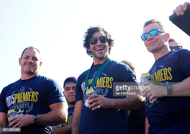 Johnathan Thurston Matthew Scott and Paul Green of the Cowboys share a laugh with the crowd whilst standing on stage during the North Queensland...