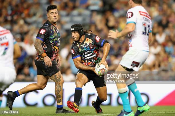 Johnathan Thurston of Indigenous All Stars in action during the NRL All Stars match between the 2017 Harvey Norman All Stars and the NRL World All...