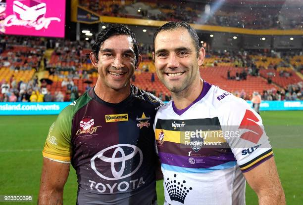 Johnathan Thurston of the Cowboys and Cameron Smith of the Storm embrace after the NRL trial match and Jonathan Thurston/Cameron Smith Testimonial...