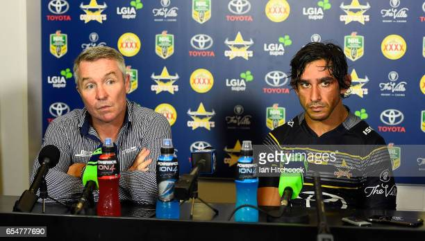 Johnathan Thurston of the Cowboys and coach Paul Green speak at the post match media conference at the end of during the round three NRL match...