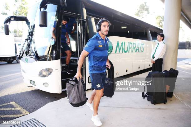 Johnathan Thurston of the Cowboys arrives during the round three NRL match between the Melbourne Storm and the North Queensland Cowboys at AAMI Park...