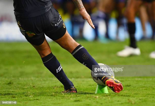 Johnathan Thurston of the Cowboys attempts a conversion during the round six NRL match between the North Queensland Cowboys and the Canterbury...