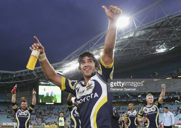 Johnathan Thurston of the Cowboys celebrates winning the NRL Preliminary Final between the Parramatta Eels and the North Queensland Cowboys at...