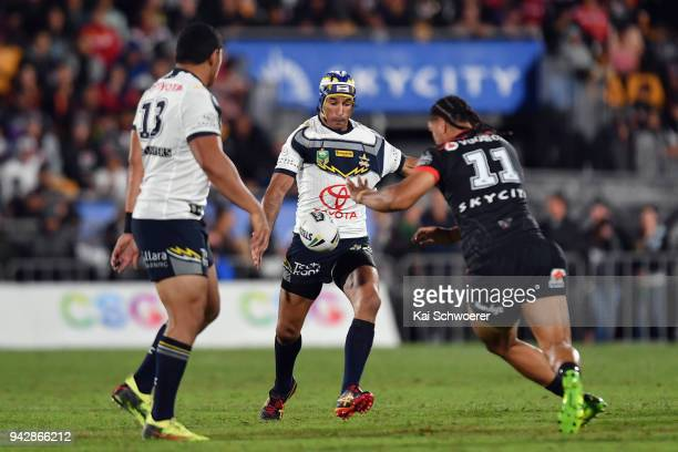 Johnathan Thurston of the Cowboys kicks the ball during the round five NRL match between the New Zealand Warriors and the North Queensland Cowboys at...