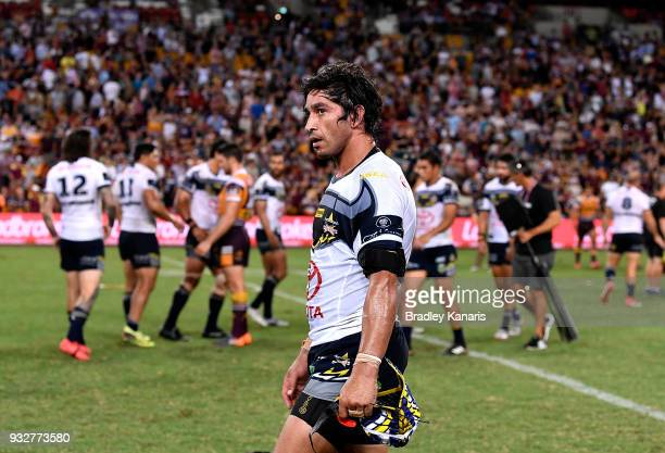 Johnathan Thurston of the Cowboys looks dejected after his team loses the round two NRL match between the Brisbane Broncos and the North Queensland...