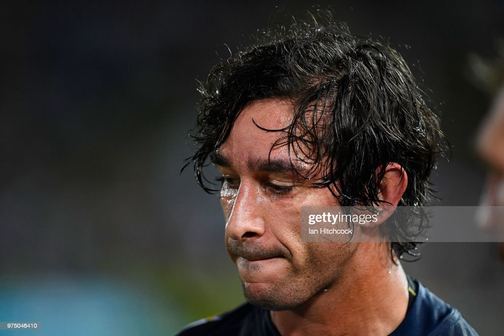 Johnathan Thurston of the Cowboys looks dejected after losing the round 15 NRL match between the North Queensland Cowboys and the New Zealand Warriors at 1300SMILES Stadium on June 15, 2018 in Townsville, Australia.