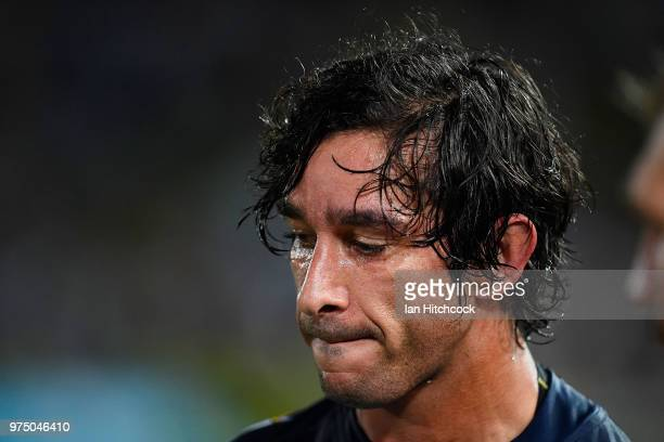 Johnathan Thurston of the Cowboys looks dejected after losing the round 15 NRL match between the North Queensland Cowboys and the New Zealand...
