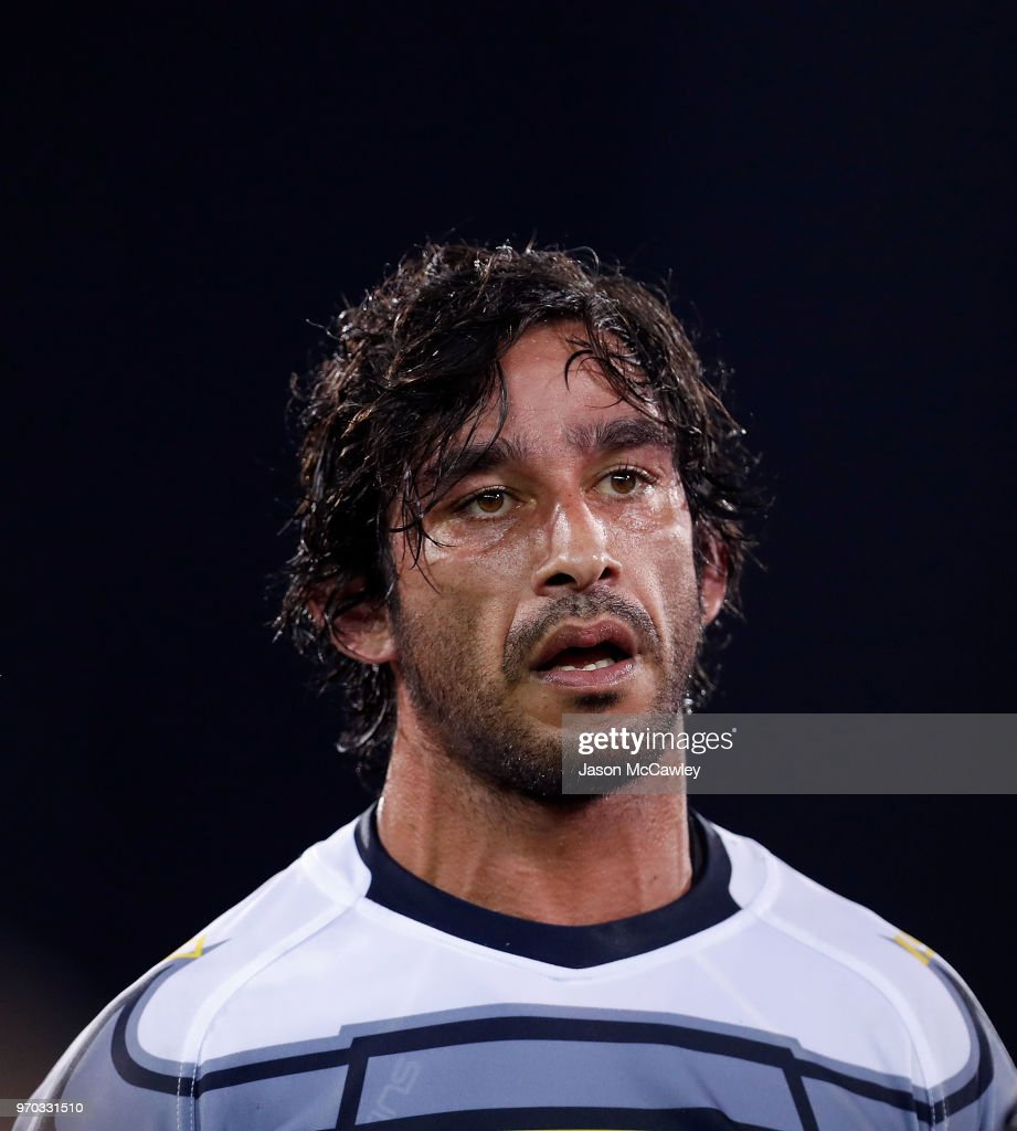 Johnathan Thurston of the Cowboys looks on during the round 14 NRL match between the Parramatta Eels and the North Queensland Cowboys at TIO Stadium on June 9, 2018 in Darwin, Australia.