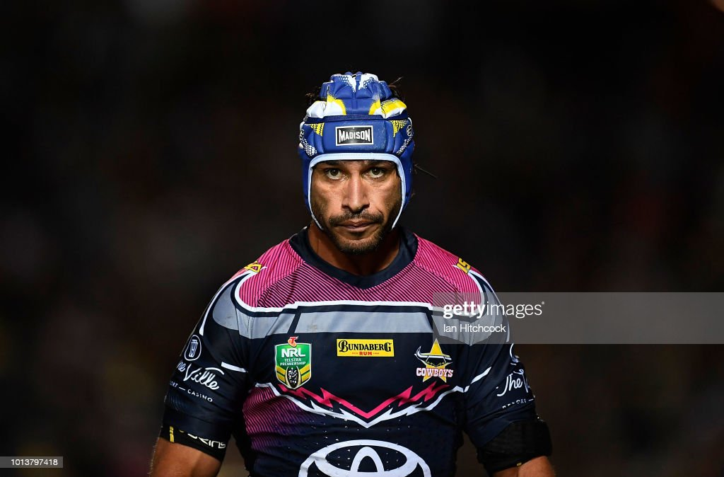 Johnathan Thurston of the Cowboys looks on during the round 22 NRL match between the North Queensland Cowboys and the Brisbane Broncos at 1300SMILES Stadium on August 9, 2018 in Townsville, Australia.