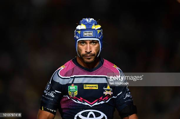 Johnathan Thurston of the Cowboys looks on during the round 22 NRL match between the North Queensland Cowboys and the Brisbane Broncos at 1300SMILES...