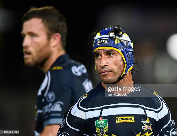 Johnathan Thurston of the Cowboys looks on during the round four NRL match between the North Queensland Cowboys and the Penrith Panthers at...
