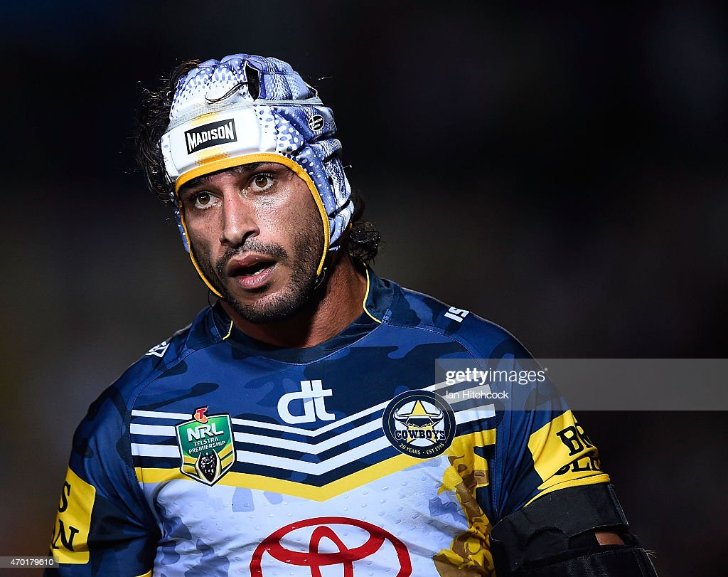 Johnathan Thurston of the Cowboys looks on during the round seven NRL match between the North Queensland Cowboys and the New Zealand Warriors at 1300SMILES Stadium on April 18, 2015 in Townsville, Australia.