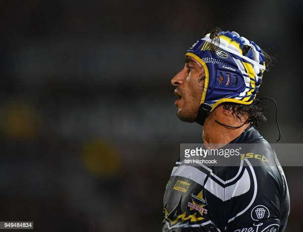 Johnathan Thurston of the Cowboys looks on during the round seven NRL match between the North Queensland Cowboys and the Gold Coast Titans at...