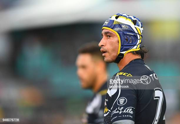 Johnathan Thurston of the Cowboys looks on during the round six NRL match between the North Queensland Cowboys and the Canterbury Bulldogs at...