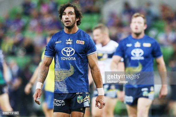 Johnathan Thurston of the Cowboys looks upfield in the warm up during the round three NRL match between the Melbourne Storm and the North Queensland...