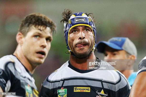 Johnathan Thurston of the Cowboys reacts after a try by the Storm during the round three NRL match between the Melbourne Storm and the North...