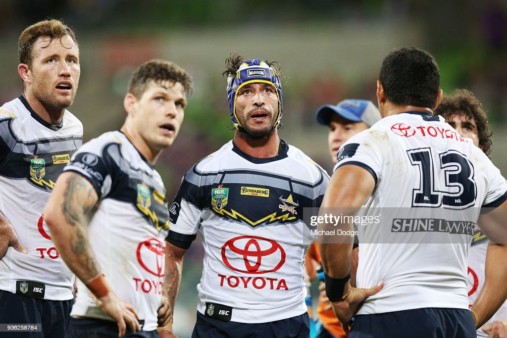 Johnathan Thurston of the Cowboys reacts after a try by the Storm during the round three NRL match between the Melbourne Storm and the North Queensland Cowboys at AAMI Park on March 22, 2018 in Melbourne, Australia.