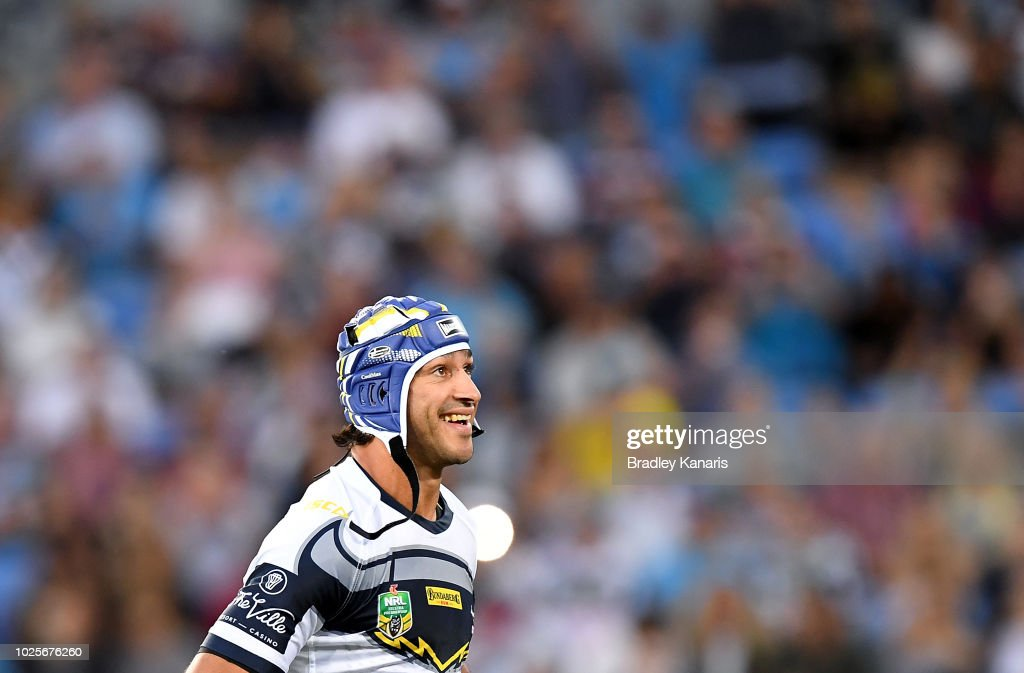 Johnathan Thurston of the Cowboys runs out onto the field of play for his last NRL match during the round 25 NRL match between the Gold Coast Titans and the North Queensland Cowboys at Cbus Super Stadium on September 1, 2018 in Gold Coast, Australia.